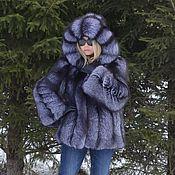 Одежда handmade. Livemaster - original item Fur coat black brown (silver) foxes. Hooded. Handmade.