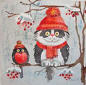 Картины и панно ручной работы. Ярмарка Мастеров - ручная работа Снегири прилетели. Handmade.