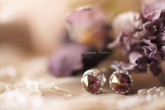 Серьги ручной работы. Ярмарка Мастеров - ручная работа. Купить Серьги винтажные гвоздики(розовые). Handmade. Розовый, винтажный стиль