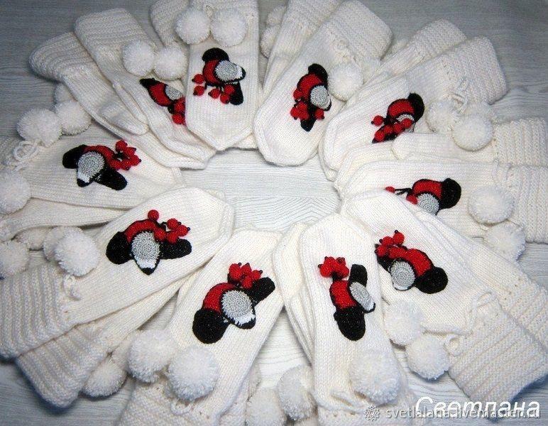 Mittens & Gloves handmade. Livemaster - handmade. Buy Mittens knitted 'bullfinches arrived'.Handmade, white, hand knit