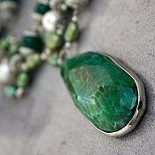 Украшения handmade. Livemaster - original item Necklace with pearl pendant and chrysoprase