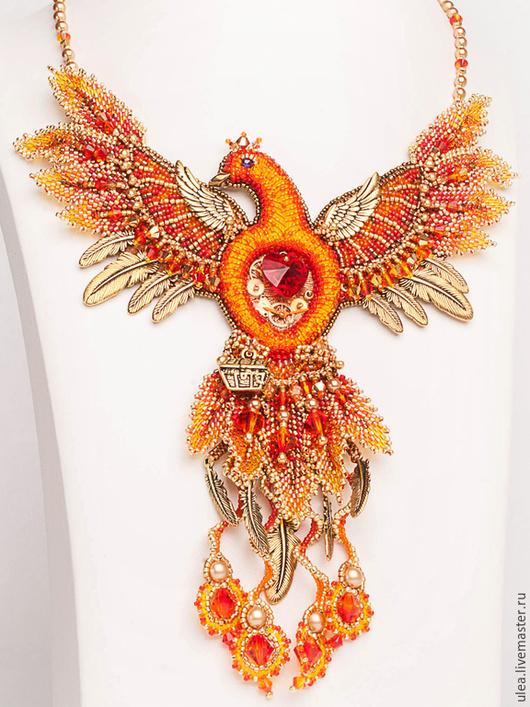 Колье `Феникс`. Авторская работа Ульяны Молдовян. Нарядное колье из бисера и Сваровски. Сказочная птица Феникс.
