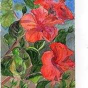 Картины и панно ручной работы. Ярмарка Мастеров - ручная работа Красный гибискус-2.. Handmade.