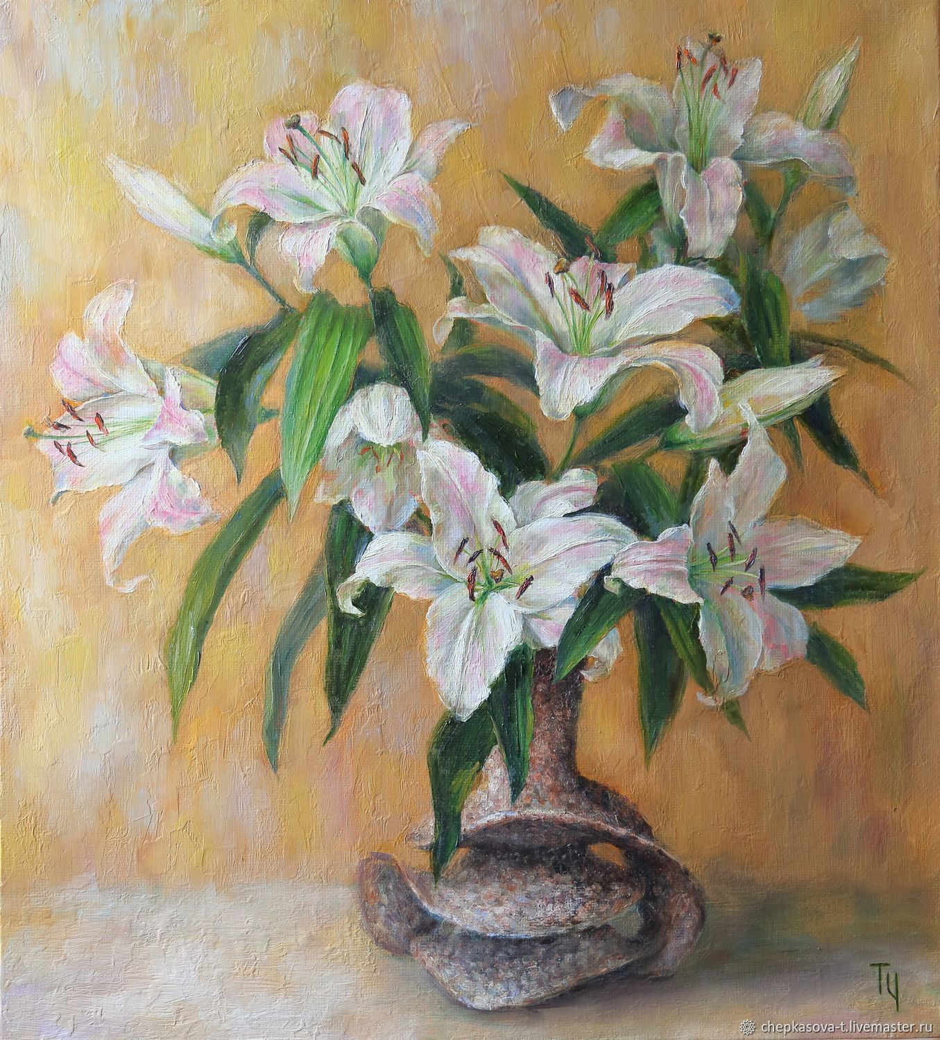 Lily. Oil on canvas, frame. Painting with flowers, Pictures, Moscow,  Фото №1