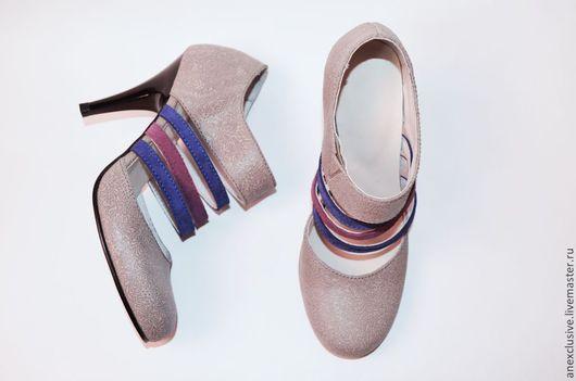 """Обувь ручной работы. Ярмарка Мастеров - ручная работа. Купить Летние ботильоны """"Полоски"""". Handmade. Женская обувь, синий, сиреневый"""