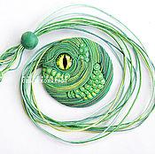 Подвеска ручной работы. Ярмарка Мастеров - ручная работа Кулон Дракон Зелёный круглый из полимерной глины. Handmade.