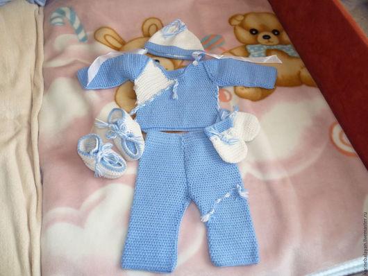 Для новорожденных, ручной работы. Ярмарка Мастеров - ручная работа. Купить Комплект для новорожденного. Handmade. Комбинированный, брюки, вязание на заказ