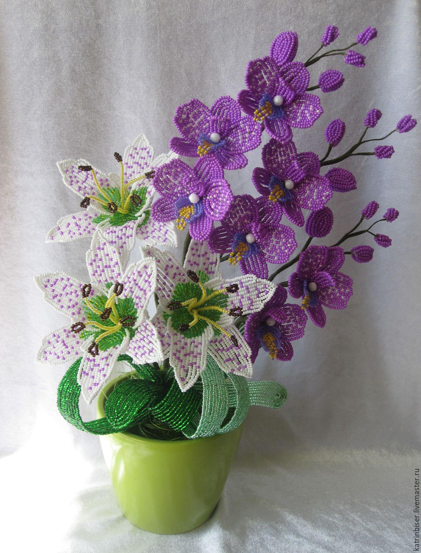 Красивые букеты цветов из бисера фото