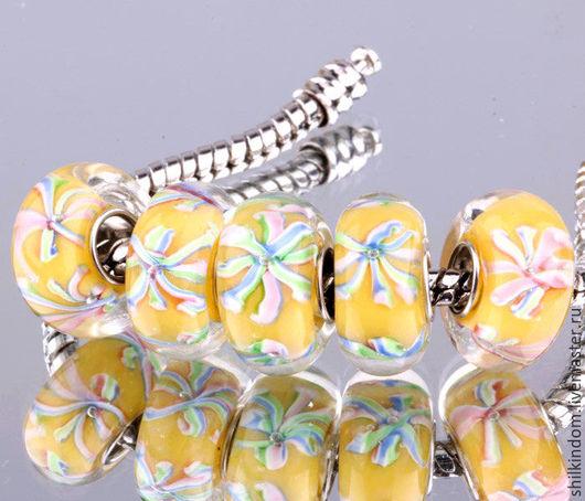 """Для украшений ручной работы. Ярмарка Мастеров - ручная работа. Купить Шарм """"Снежинка"""" с серебром 925 пробы. Handmade. Лимонный"""