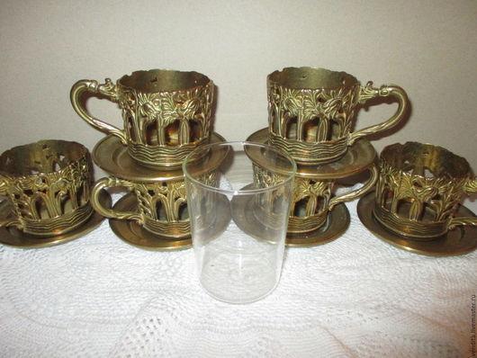 Винтажная посуда. Ярмарка Мастеров - ручная работа. Купить Набор  для чая ,6 персон. Handmade. Золотой, винтажные подстаканники