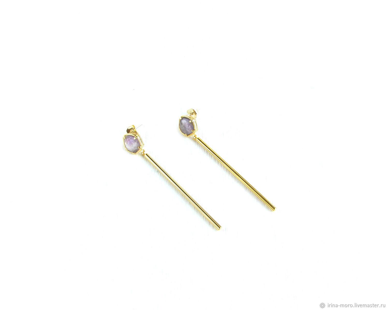 Amethyst earrings 'Episode' long dangling stud earrings, Earrings, Moscow,  Фото №1