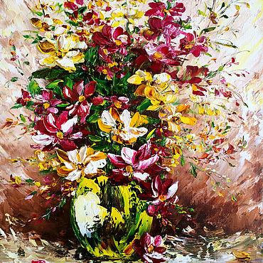 Картины и панно ручной работы. Ярмарка Мастеров - ручная работа Картина маслом Летнее настроение полевые цветы в зелёной вазе. Handmade.