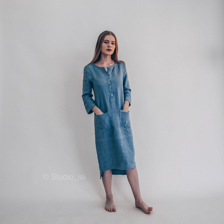 614408fc958 Платья ручной работы. Ярмарка Мастеров - ручная работа. Купить Платье  домашнее из льна.