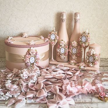 Свадебный салон ручной работы. Ярмарка Мастеров - ручная работа Свадебный набор «Розовый Шебби шик». Handmade.