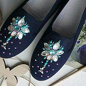 """Обувь ручной работы. Ярмарка Мастеров - ручная работа Дизайнерские испанские кеды """"Стрекоза и звёзды"""". Handmade."""