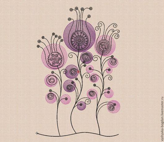 """Вышивка ручной работы. Ярмарка Мастеров - ручная работа. Купить Дизайны  для машинной вышивки """"Цветочки в кружочках bt151"""". Handmade. богдан"""
