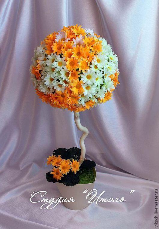 """Топиарии ручной работы. Ярмарка Мастеров - ручная работа. Купить Топиарий """"Оранжевое лето"""". Handmade. Топиарий, искуственные цветы"""