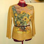 """Одежда ручной работы. Ярмарка Мастеров - ручная работа Валяный Джемпер свитер """"Шафрановый"""" свитшот Подсолнухи. Handmade."""