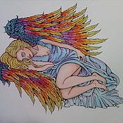 Картины и панно ручной работы. Ярмарка Мастеров - ручная работа Картина Спящий Ангел 1 акварель. Handmade.