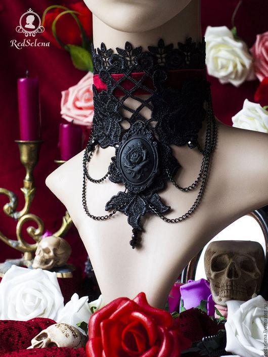 """Готика ручной работы. Ярмарка Мастеров - ручная работа. Купить Викторианский комплект кружевных украшений """"Velvet Roses"""". Handmade. Бордовый"""