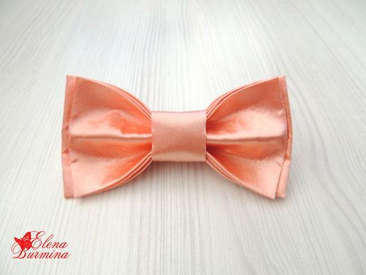 Галстуки, бабочки ручной работы. Ярмарка Мастеров - ручная работа. Купить Бабочка галстук персиковая, атлас. Handmade. Кремовый, однотонный