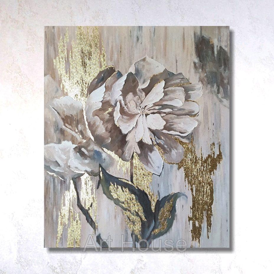 Картина интерьерная с золотой поталью , пион, цветы, абстракция, Картины, Ставрополь,  Фото №1