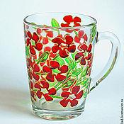 """Посуда ручной работы. Ярмарка Мастеров - ручная работа Бокал  """"Красные цветы"""" + сережки в подарок!. Handmade."""