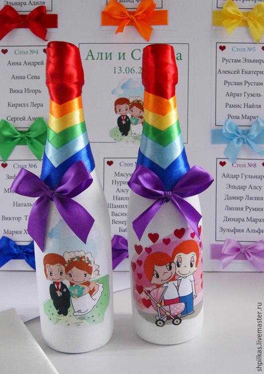 Свадебные аксессуары ручной работы. Ярмарка Мастеров - ручная работа. Купить Свадебные бутылки Love is.... Handmade. Разноцветный