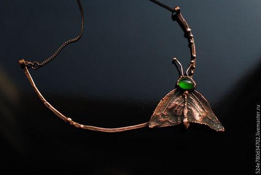 """Кулоны, подвески ручной работы. Ярмарка Мастеров - ручная работа. Купить """"Мотылек"""". Handmade. Зеленый, медь, подвеска, медь, стекло"""