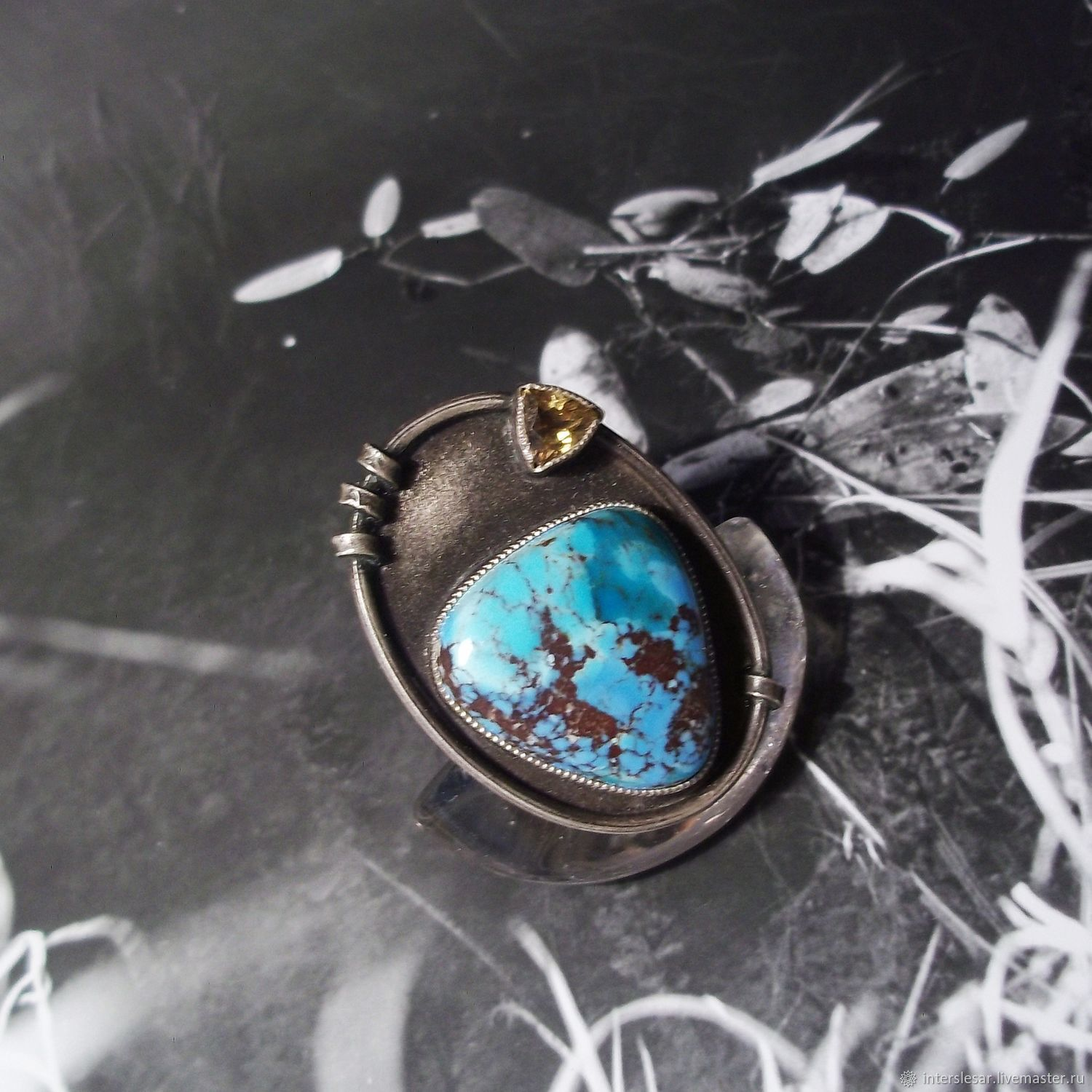Turquoise ring ' Spring lake', Rings, Moscow,  Фото №1