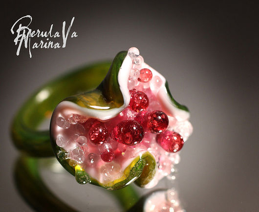 Rings handmade. Livemaster - handmade. Buy Ring 'Flower dew'.Marina berulava, glass ring