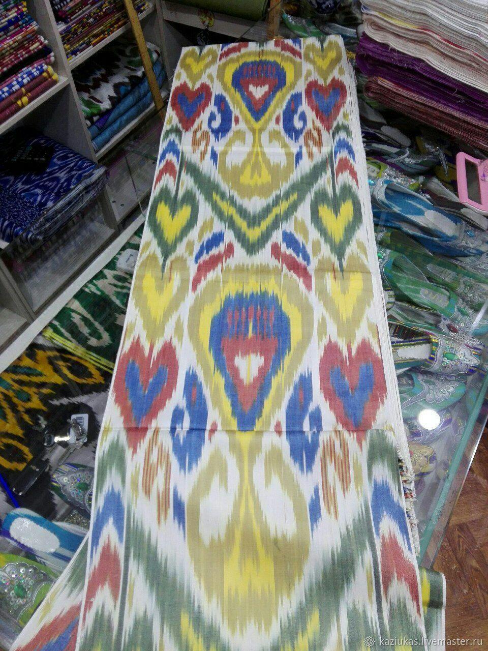 Uzbek cotton ikat hand weaving. FM075, Fabric, Odintsovo,  Фото №1