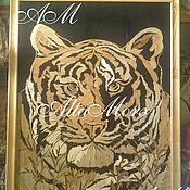 """Картины и панно ручной работы. Ярмарка Мастеров - ручная работа Картина из соломы """"Тигр"""". Handmade."""