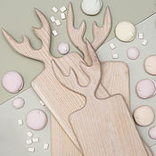 Посуда handmade. Livemaster - original item Set of 3 straight cutting boards with horns, color