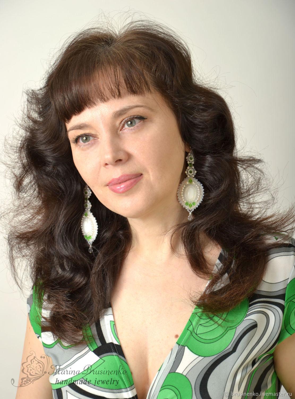 Long evening earrings with jade, pearls, Earrings, Novosibirsk,  Фото №1