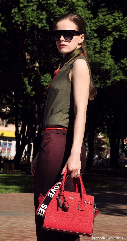 Рубашка хлопковая с шелковым воротником, Блузки, Москва,  Фото №1