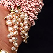 """Украшения ручной работы. Ярмарка Мастеров - ручная работа """"Благородный персиковый"""" лариат + браслет. Handmade."""