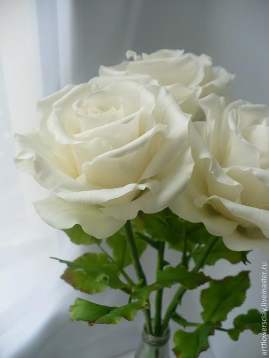 Букеты ручной работы. Ярмарка Мастеров - ручная работа. Купить Белые розы из полимерной глины. Handmade. Белый, полимерная глина