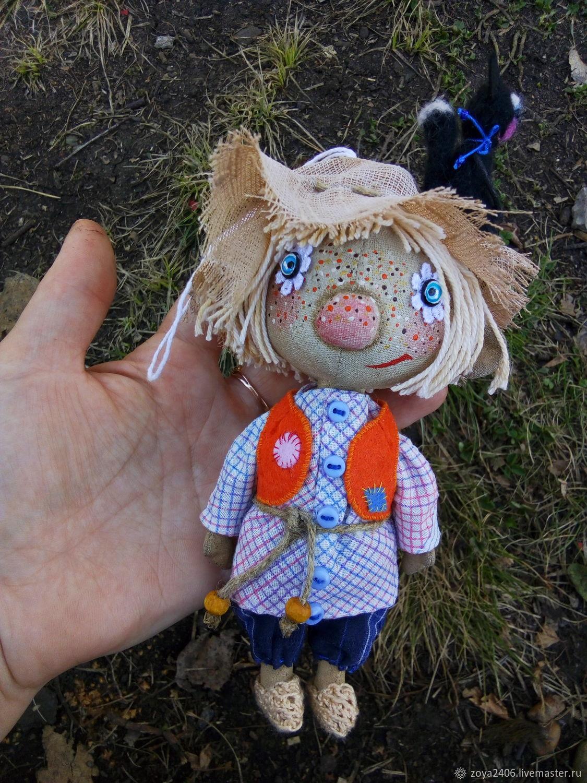 Коллекционные куклы ручной работы. Ярмарка Мастеров - ручная работа. Купить Куклы: Домовёнок с Котейкой. Handmade. Кот, добро, синтепон