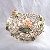 Посуда handmade. Livemaster - original item Fruit bowl Transparency-Orange roses d22cm. Handmade.