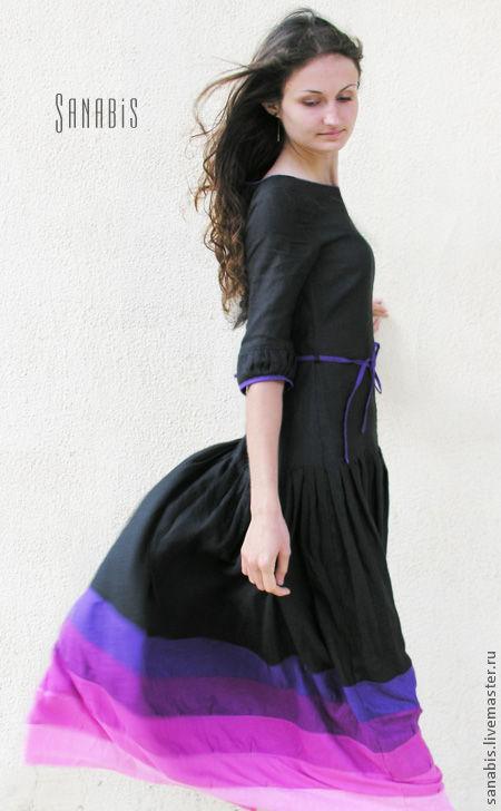 Платья ручной работы. Ярмарка Мастеров - ручная работа. Купить Длинное чёрное платье. Handmade. Платье, черничный, шикарное платье
