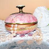 Box handmade. Livemaster - original item Box round Pink marble. Handmade.