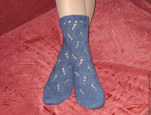 Носки, Чулки ручной работы. Ярмарка Мастеров - ручная работа. Купить Носки Ажурные. Handmade. Синий, ажурные носочки, подарок