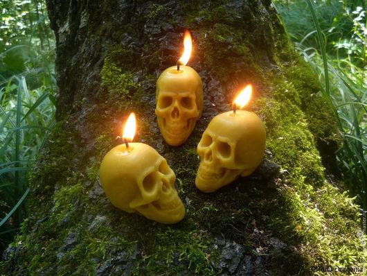 Свечи ручной работы. Ярмарка Мастеров - ручная работа. Купить Восковая свеча Череп. Handmade. Свеча череп, готика, папоротник