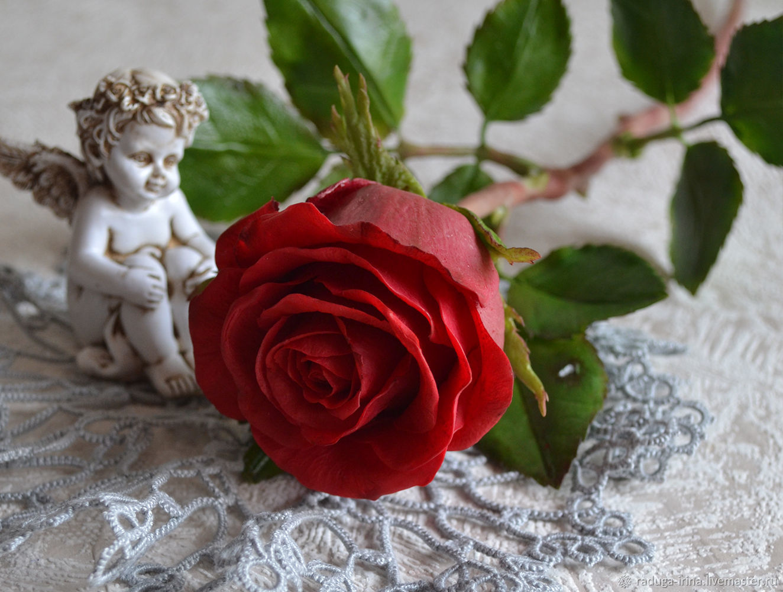 Красная роза из холодного фарфора, Цветы, Москва,  Фото №1