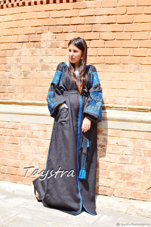 Embroidered Black Dress Boho Chic Dress Embroidered Vyshyvanka Dress, Dresses, Chernovtsy,  Фото №1