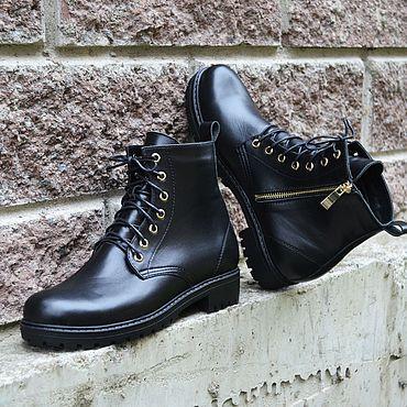 Обувь ручной работы. Ярмарка Мастеров - ручная работа Ботинки женские кожаные на треке. Handmade.