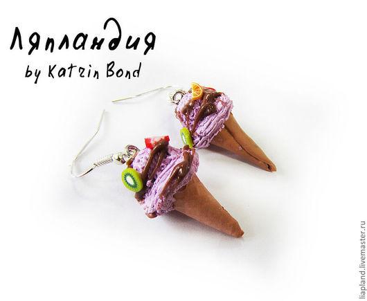 """Серьги ручной работы. Ярмарка Мастеров - ручная работа. Купить серьги """"Вкусная мороженка"""". Handmade. Фиолетовый, полимерная глина"""