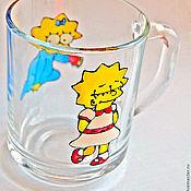 """Посуда ручной работы. Ярмарка Мастеров - ручная работа Кружка """"Лиза и Мегги"""" + сережки в подарок!. Handmade."""