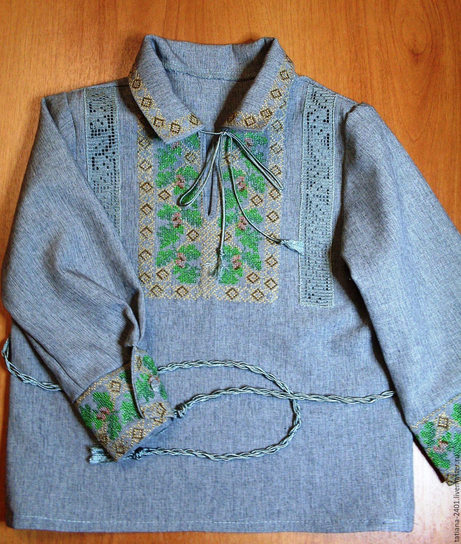 """Одежда ручной работы. Ярмарка Мастеров - ручная работа. Купить Вышитая рубашка для мальчика """"Дубок"""" ( мальчуковая рубашка - р.86). Handmade."""